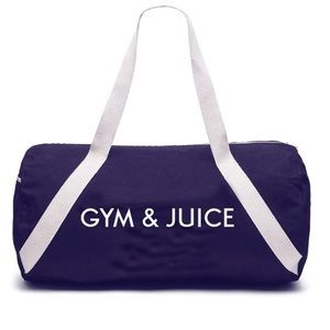 Private Party Denim Duffel bag w/ GYM & JUICE text